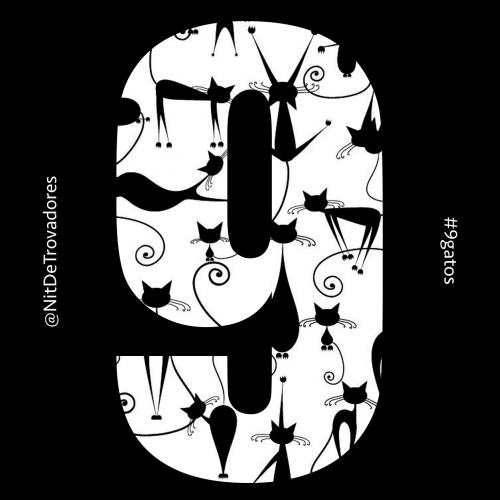 Logo y Galleta del CD de La NIt de Trovadores, 9 Gatos